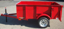 "50"" x 6' Light Weight Trailer Built with 24"" Metal Sides, 24"" Metal Back Gate with Chain Holders, Swivel Jack with Caster, Spare Tire with Galvanized Rims, Spare Tire Mount, 1/2"" Rope Hooks, Custom Painted Red"