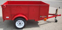 "50""x6' Custom Light Weight Trailer with 2,000 GVWR, 2,000lb. Slipper Suspension Axle, 3x2x3/16 Angle Frame, 3x2x3/16 Angle Tongue, 12"" / 5 on 4.5 Tires & Wheels, 2"" A Frame Coupler, 24"" Sides, Spare Tire and Wheel, Jack with Caster Wheel, Red Painted Trailer and Undercarriage"