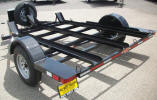 "Custom Motorcycle 3 Rail 8.5 x 13 Trailer with 2,990lb GVWR, Single 3,500lb Axle, 3"" Channel Frame, Light Gauge Formed Channel Ramps, 2,000lb Swivel Tongue Jack, 2"" Coupler, A-Frame Tongue Box, Spare Tire Mount, 11- Small D Rings, Fender Steps"