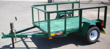 4x6 2,000lb GVWR Light Weight Trailer, Forest Green Color, 2' Sides