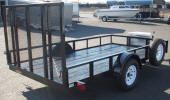 "77"" x 12' 2,990lb GVWR Custom Utility Trailer Built with Single Axle Mounted Spare Tire and Rim, Diamond Plate Tongue Box, 4 D-Rings, Two Extra Upright Support for Rear Ramp Gate"