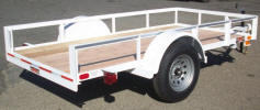 "5 x 10 Custom Single Axle Standard Utility Trailer Built with Drop in Grooves at Back for Board, Unpainted Decking, Painted White, 2,990lb. GVWR, 3,500lb Axle, 15"" / 5 on 4.5 / 4 Ply Tires & Wheels, 2"" A Frame Coupler, 2,000lb Jack, 2 x 2 Angle Top Rail, 3"" Channel Tongue, Painted Trailer Undercarriage"