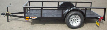 "5 x 10 Standard Utility Trailer Built with 2,990lb. GVWR, 3,500lb Axle, 15"" / 5 on 4.5 / 4 Ply Tires & Wheels, 2"" A Frame Coupler, 2,000lb Jack, 2 x 2 Angle Top Rail, 3"" Channel Tongue, Painted Trailer Undercarriage"