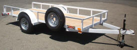 "Custom 5 x 12 Standard Utility Trailer Built with 2,990lb. GVWR, 3,500lb Axle, 15"" / 5 on 4.5 / 4 Ply Tires & Wheels, 2"" A Frame Coupler, 2,000lb Jack with Caster Wheel, 2 x 2 Angle Top Rail, 3"" Channel Tongue, 2 x 4 Tube Tongue, Spare Tire and Wheel, Spare Tire Mount, Drop In Back Mounts, Painted White Trailer and Undercarriage"