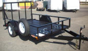 "Custom 77"" x 10' Standard Utility Trailer with 2,990lb. GVWR, 3,500lb 4"" Drop Axle, 15"" / 5 on 4.5 / 4 Ply Tires & Wheels, 2"" A Frame Coupler, 2,000lb Jack, 2 x 2 Angle Top Rail, 3"" Channel Tongue, Painted Trailer Undercarriage, Ramp Gate with Spring Assist, 1/2"" D Rings, 2 - Wheel Chocks, 1- Removable Mount, Spare Tire and Mount"