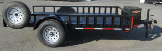 "Custom 12' ATV Trailer with 2,990lb GVWR, Single 3,500lb Axle, 1 ½"" Square Tubing Frame, 13"" 5 on 4.5 Tires & Wheels, 8"" Side Rail, 2"" Coupler, Painted Trailer Undercarriage, Side Lad Pass Through, A Frame Box, Spare Tire and Wheel, 6 - 1/2"" D Rings"