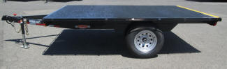 "7' x 10' Custom Flat Bed Trailer with 2,990lb GVWR, 15"" Tires Silver Modular Rims, Maine Plywood, Tiebar Rail Front and Both Sides, Roller on Rear Painted Safety Yellow, Spare Tire and Wheel, Spare Tire Mount, Black"