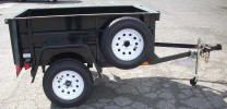 "4' x 6' Single Axle Jeep Trailer Built with 2"" Ball, Wrap Around Tongue 5', Spare Tire and Wheel, Spare Tire Mount, Fold Up Jack, Jeep Style Fenders, Six 1/2 Rope Hooks, Six Stake Pockets"
