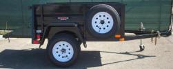 4' x 6' Single Axle Jeep Trailer Built with Fold up Jack with Caster, Spare Tire and Wheel Mounted, Jeep Style Fenders