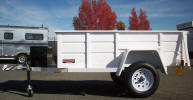 "Custom 50"" x 97.5"" Jeep Trailer Built with Single Electric Braking Axle, Breakaway Kit, 7 Way Plug, 2"" Coupler with Safety Chains, 48"" Tongue, A Frame Box on Tongue, Swivel Jack with Caster, Tongue to Meet Fender, Spare Tire and Wheel, Spare Tire Mount, 5 on 5 bolt Pattern, Jeep Style Fenders, White in color!"