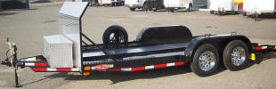 "82"" x 16' Custom California Car Hauler Style Trailer Built with 7,000lb. GVWR, Two 3,500lb. 4"" Drop Braking Axles, Equalizer/ Leaf Spring Suspension, Breakaway Kit, 7 Way Plug, 1/2"" D Rings, 15"" Upgraded Chrome Trailer Tires & Wheels, 3 X 5 X 1/4 Angle Frame, 3 X 2 X 3/16 Angle Cross Members, 48"" Z Tongue, 24"" 14 Gauge Steel Bed Runners, 4' Dove Tail, 2,000lb Tongue Jack, 2 5/16"" A Frame Coupler, 1 Removable Fender on Drivers Side, Painted Trailer Undercarriage, Spare Tire and Mount, 48"" Diamond Plate Stone Guard, 6' Expanded Metal Ramps with Storage, Aluminum Box on Tongue, 3/16"" Aluminum Plate in Open Pit, E Track Mounted on Each Side of Runners"