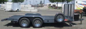 "Custom California Car Hauler Trailer with 82 x 16, Tandem Braking Axles, Spare Tire and Wheel, Spare Tire Mount, Large A - Frame Box, Stone Guard, 8 - Flush Mount D Rings, Steel Center, 15"" Ramps, LED Lights, Chrome Wheels, Grey Color"