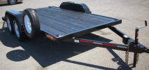 "77"" X 12' Tandem Axle Light Car Hauler Trailer with One Electric Braking Axle, Breakaway Kit with 7 Way Plug, 2 5/16"" Coupler with Safety Chains, 48"" Ramps and Storage, 1/2"" D Rings in Each Corner"